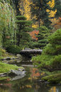 Japanese Garden During the Autumn Season. Royalty Free Stock Photo