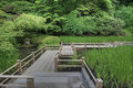 Japanese Garden Bridge over Pond Royalty Free Stock Image