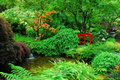 Japanese garden in butchart gardens Royalty Free Stock Photo