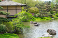 Japanese garden at the Chicago Botanic Gardens Royalty Free Stock Photo