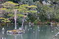 Japanese garden at famous Kinkakuji Stock Photo