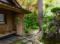 Japanese garden with green trees in summer Royalty Free Stock Photo