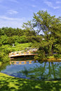 Japanese garden with the koi pond in the foreground Stock Photos