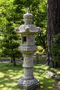 Japanese garden landscape with lantern Stock Photos