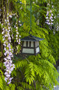 Japanese garden lantern in a stroll with decorative trees Stock Images