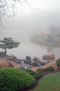 Japanese garden misty morning scene in toowoomba queensland australia Stock Photos