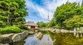 Japanese garden planten un blomen park with heinrich hertz turm hamburg germany beautiful view of in famous radio Royalty Free Stock Images