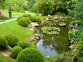 Japanese garden and pond Royalty Free Stock Images