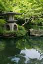 Japanese garden and pond Royalty Free Stock Photo