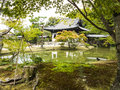 Japanese garden and pond traditional pavilion Royalty Free Stock Images