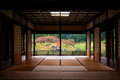 Japanese garden seen through tatami room. Royalty Free Stock Photo