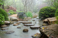 Japanese garden stepping stones across stream in toowoomba queensland australia Royalty Free Stock Photography
