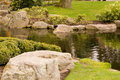 Japanese Garden Stream Royalty Free Stock Photography