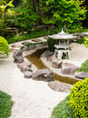 Japanese garden style with stone lantern Stock Photos