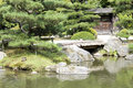 Japanese garden with a traditional gate Stock Photos