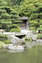 Japanese garden with a traditional gate Royalty Free Stock Photos