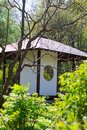 Japanese garden with veranda. Royalty Free Stock Photo