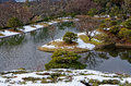 Japanese garden in winter, Kyoto Japan Royalty Free Stock Photo
