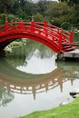 Japanese gardens red wooden bridge in buenos aires argentina Stock Photos