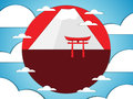 Japanese gate on a background of mountains. Vector illustration of paper. Royalty Free Stock Photo