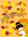 Japanese geisha in autumn