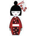 Japanese geisha doll with black and red kimono with flowers inspired and stick in hair by asian culture tradition Royalty Free Stock Image