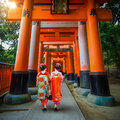 Japanese Geisha at Fushimi Inari Taisha Shrine in Kyoto Royalty Free Stock Photo