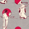Japanese Geisha seamless pattern Royalty Free Stock Images