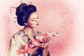 Japanese geisha woman portrait of a Stock Images