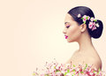 Japanese Girl and Flowers, Asian Woman Beauty Makeup Profile Royalty Free Stock Photo