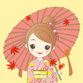Japanese girl is wear kimono