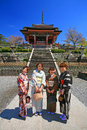 Japanese girls dressing traditional kimono enjoy cherry blossom kyoto apr unidentified hanami at kiyomizu temple in kyoto on april Royalty Free Stock Image