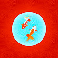 Japanese goldfishes pair of over inverted flag in waves Royalty Free Stock Photos