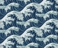 Japanese Great Wave Seamless Pattern Background Royalty Free Stock Photo