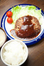 Japanese home cooking a Hamburg steak Royalty Free Stock Photo