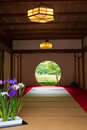 Japanese house with round window Royalty Free Stock Photo