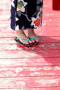 Japanese kimono style legs of young woman in Stock Photo