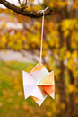 Japanese Kirigami Papercraft Star Hung in Nature Royalty Free Stock Photography