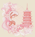 Japanese koi and ancient building background illustration Stock Image