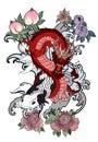 Japanese Koi And Dragon.Hand D...