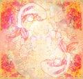 Japanese koi fish grunge background raster illustration Stock Photo
