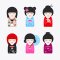 Japanese Kokeshi Dolls icons Royalty Free Stock Photo