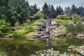 Japanese lake in grand rapids michigan united states calm water of a with a waterfall a garden surrounded by trees and plants Royalty Free Stock Photos