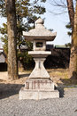 Japanese lantern stone in garden Stock Images