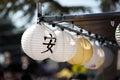 Picture : Japanese lanterns at Obon festival street humanitarian