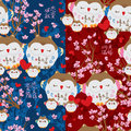 Japanese lucky owl pink love sakura seamless pattern Royalty Free Stock Photo