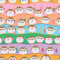 Japanese lucky owl stand line seamless pattern Royalty Free Stock Photo