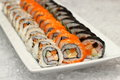 Japanese maki roll type sushi with crab egg and cucumber Royalty Free Stock Image