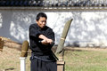 Japanese martial art with katana sword kagawa japan october fighters at marugame iai festival event dedicated to culture and Stock Images