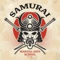 Japanese martial poster. Agressive asian warrior mask for armor helmet cordage katana sword vector placard design Royalty Free Stock Photo